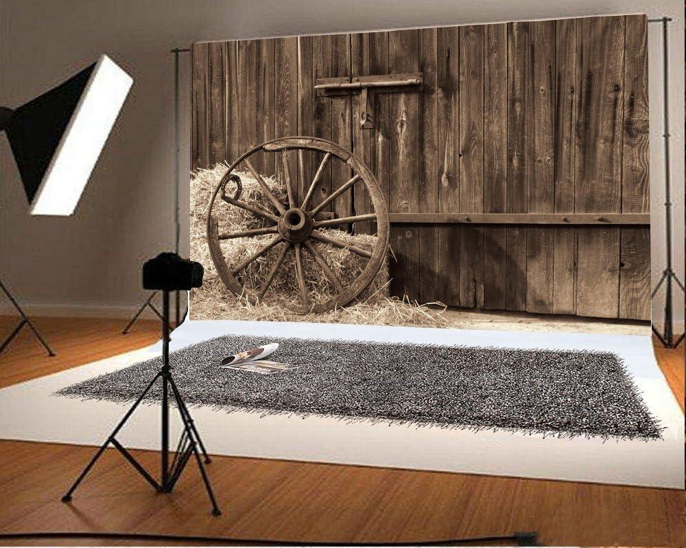 Retro Western Style Backdrops Yeele 10x8ft Wooden Barn Door Farmhouse Wheels Haystack Hay Bales Wagon Wheel Photography Background Cowboy Boy Children Portrait Shooting Studio Props