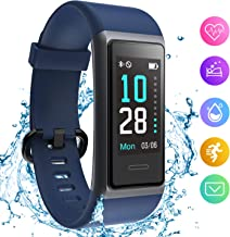 HolyHigh Fitness Band Smart Watch for Men Women Heart Rate Monitor Waterproof Fitness Tracker Sleep Monitor Smart Band Bluetooth Call Whatsapp Notification Step Counter Stop Watch