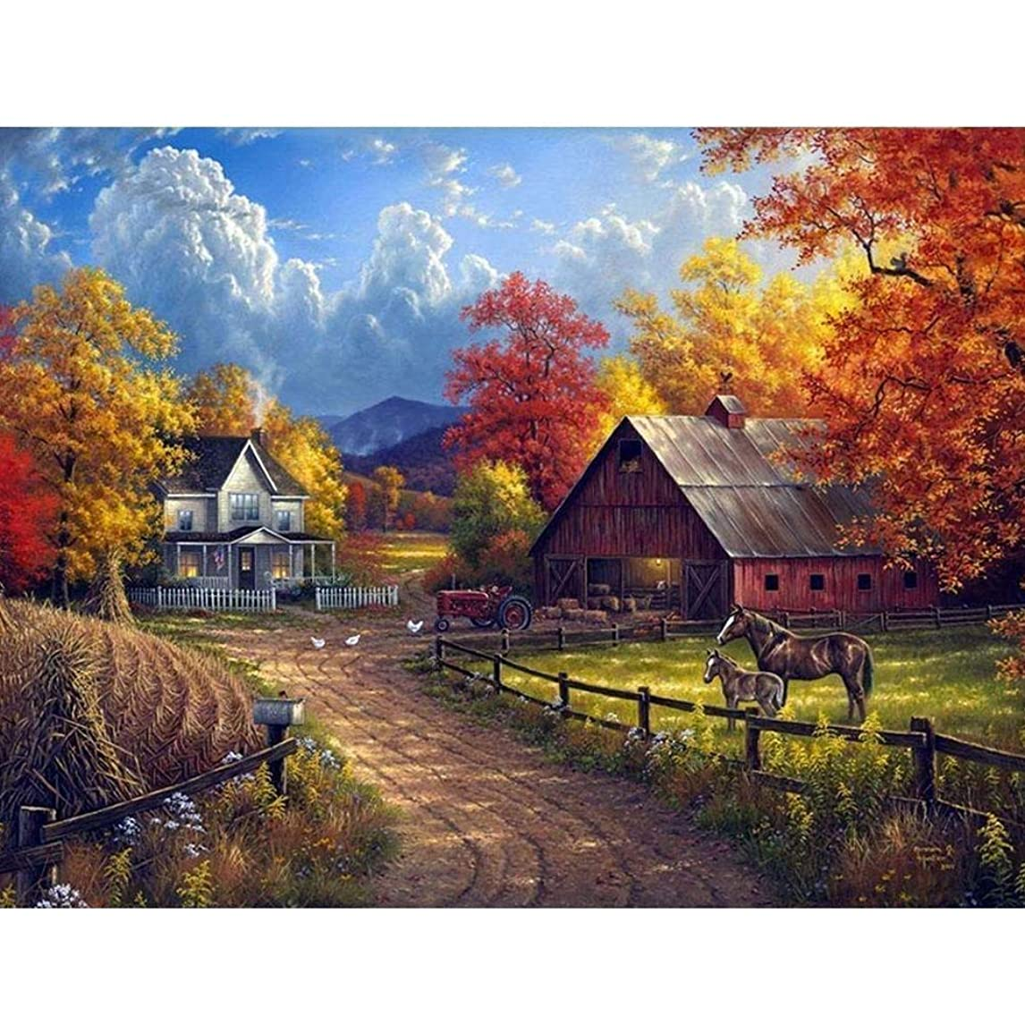 DIY 5D Diamond Painting by Number Kit for Adult, Full Drill Diamond Embroidery Dotz Kit Home Wall Decor-15.7x11.8