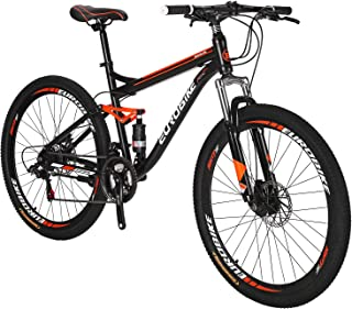 EUROBIKE Full Suspension Mountain Bike 21 Speed Bicycle 27.5 inches Mens MTB Disc Brakes Orange