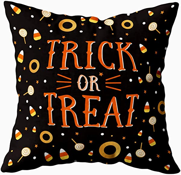 ROOLAYS Halloween Pillow Covers Square Throw Pillowcase Covers 16X16Inch Halloween Background Pattern Both Sides Farmhouse Decor Cushion Black Orange