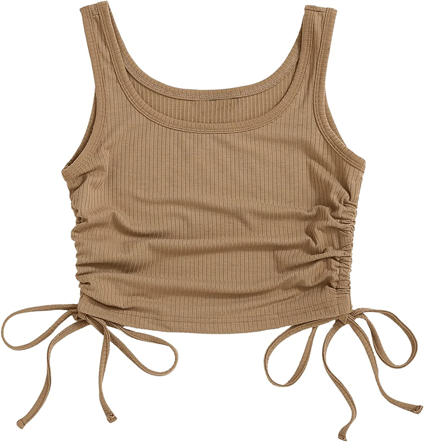 SOLY HUX Women's Drawstring Ruched Tie Side Sleeveless Ribbed Knit Crop Tank Top