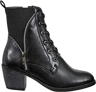 Womens Vintage Distressed Lace-up Stacked Heel Ankle Boot Chunky Block Stacked Heel Boots Ravenna