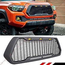 Fits for 2016-2019 Toyota Tacoma Pro Front Hood Honeycomb Matt Black Mesh Grill Grille + Amer LED Cab Lights