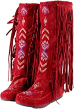 Inornever Knee High Boots for Women Moccasins Embroidered Fringed Booties Winter Flats Suede Long Snow Boots