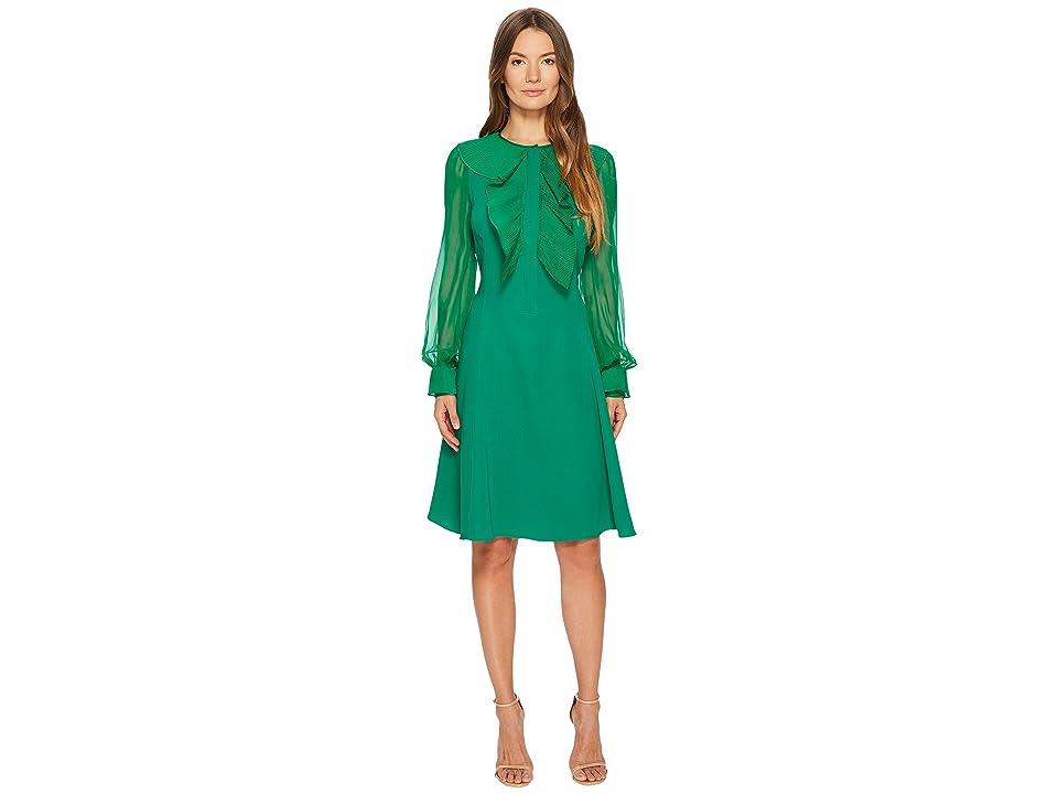 Prabal Gurung Silk Cady Long Sleeve Dress (Emerald) Women