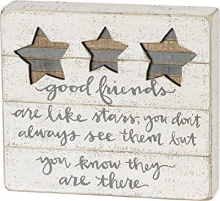 Primitives by Kathy Hand-Lettered Slat Box Sign, Good Friends are Like Stars