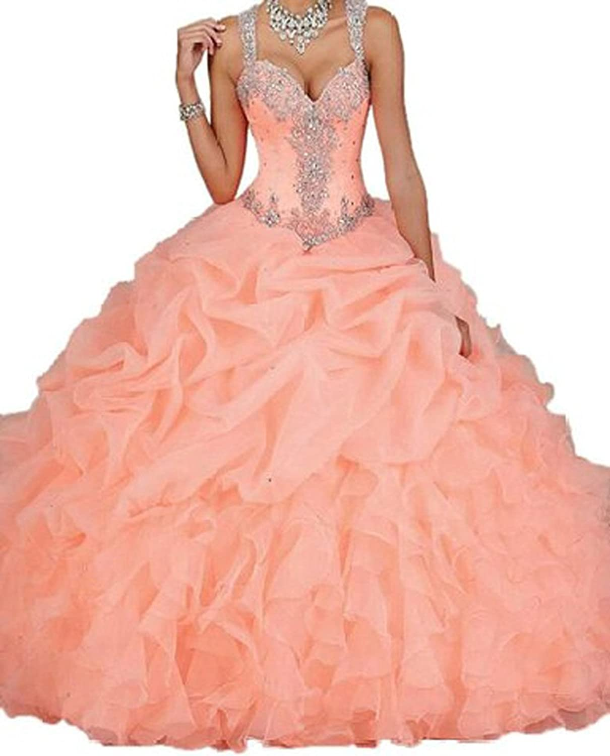Charmingbridal Ball Gown Quinceanera Dress Ruched Organza Long Prom Party LD045