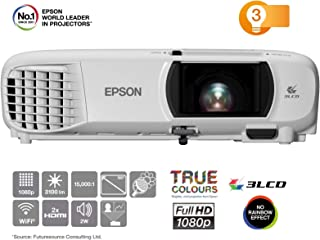 Epson EH-TW650 3LCD, Full HD, 3100 Lumens, 300 Inch Display, Wi-Fi, Gaming & Home Cinema Projector - White