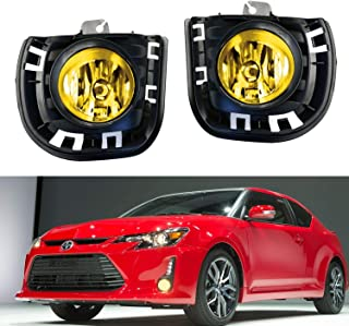 iJDMTOY Complete Set JDM Yellow Lens Fog Lights Foglamps w/ H11 Halogen Bulbs, Garnish Bezel Covers, Wiring On/Off Switch For 2014-up Scion tC