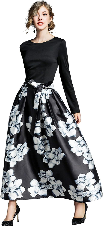 ANNA&CHRIS Womens Casual ALine Floral Printed Tie Waist Long Sleeve Maxi Dress
