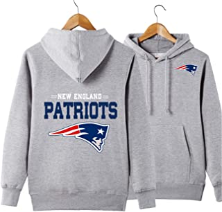 Men's Hooded Long Sleeve Letters Print New England Patriots Team Solid Color Pullover Hoodies