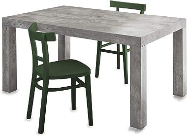 icreo,Table extensible moderne mod Dionisio finition ciment 140x90 H75 cm plus 2 rallonges de 40 cm pour arriver à une longue