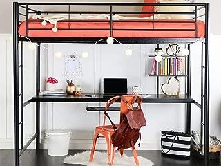 WE Furniture Full Metal Loft Bed with Workstation, Black