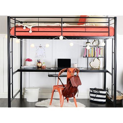 WE Furniture Full Metal Loft Bed With Workstation   Black