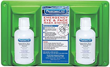 PhysiciansCare by First Aid Only 24-102 Wall Mountable Eye and Skin Flush Station with Two 16 oz Bottles, 16-1/2