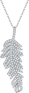EVER FAITH 925 Sterling Silver Pave Cubic Zirconia Bohemian Style Feather Pendant Necklace Clear