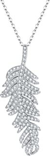 925 Sterling Silver Pave Cubic Zirconia Bohemian Style Feather Pendant Necklace Clear