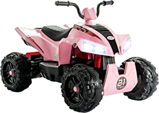 Uenjoy 12V Kids ATV 4 Wheeler Ride On Quad Battery Powered Electric ATV for Girls, 2 Speeds, Wheels Suspension, LED Lights, Music, Pink