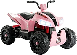 Uenjoy 12V Kids ATV 4 Wheeler Ride On Quad Battery Powered Electric ATV for Girls, 2 Speeds, Wheels Suspension, LED Lights, Music, Pink
