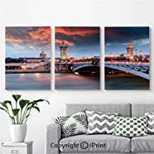 Modern Salon Theme Mural Alexandre 3 Bridge Paris France Palace Golden Color Peaceful Surface Waterscape Painting Canvas Wall Art for Home Decor 24x36inches 3pcs/Set,