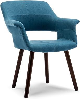 BELLEZE Accent Chair Living Room Armchair Linen Mid-Century Style Armrest Curved w/Wooden Leg, Blue