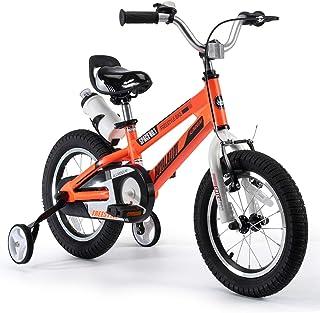 RoyalBaby Kids Bike Boys Girls Space No. 1 Aluminum 3-9 Years Old 12 14 16 18 Inch Training Wheels Kickstand Black Red Ora...