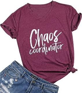 Women Chaos Coordinator Tshirt Cute Funny Letter Print V Neck Shirt Top