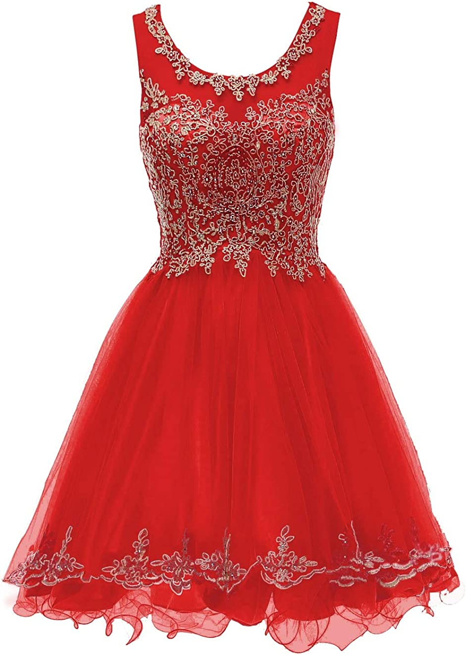 WDING Short Prom Dresses For Juniors Lace Appliques Tulle Homecoming Dress