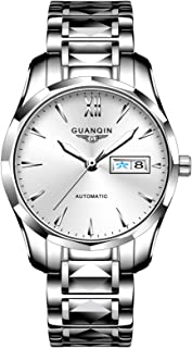 Guanqin Men Automatic Wrist Watch with Scratch-resistant Sapphire Crystal Lens Tungsten Steel Bracelet Self Winding Watches for Male Silver White