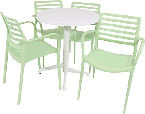 lowest Sunnydaze All-Weather Astana Outdoor 5-Piece Patio Furniture Dining Set - Includes Round Table with Folding Top and 4 Armchairs - Commercial Grade lowest outlet sale Indoor/Outdoor Use - Light Green Chairs/White Table outlet sale