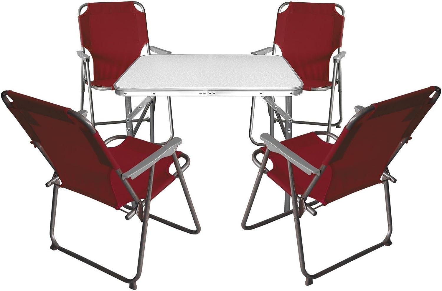 Multistore 2002 5tlg. Gartenmbel Campingmbel Set - Aluminium Klapptisch 55x75cm + 4X Klappstuhl Campingstuhl Rot