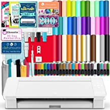 Silhouette White Cameo 4 Starter Bundle with 36 Oracal Vinyl Sheets, T-Shirt Vinyl, Transfer Paper, Class, Guides and 24 Sketch Pens