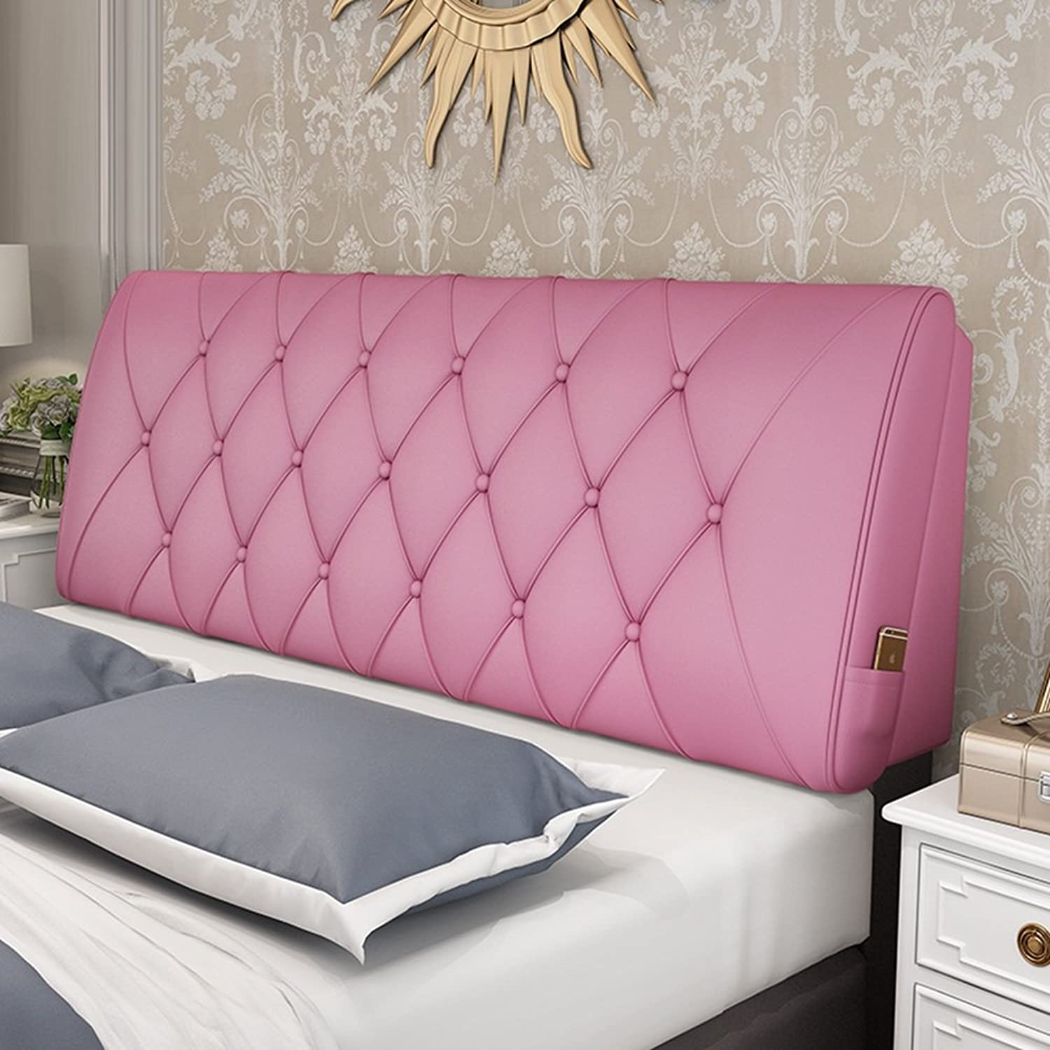 WENZHE Upholstered Fabric Headboard Bedside Cushion Pads Cover Bed Wedges Backrest Waist Pad Soft Case Double Bed Sofa Pillow Multifunction Large Back Pad Simple Fashion, There Is Headboard   No Headboard, 6 colors, 10 Sizes Optional ( color   pink red ,