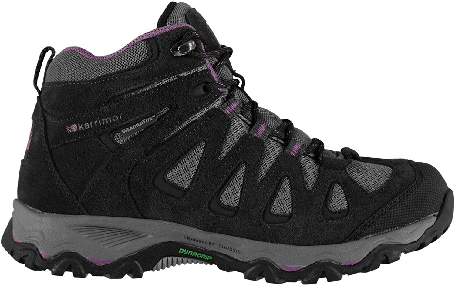 Official Brand Karrimor Thorpe Weathertite Mid Walking Boots Womens Grey Purple Hiking shoes