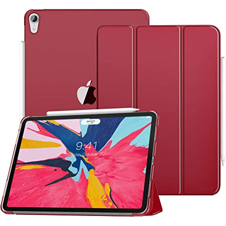 Amazon Com Moko Case Fit Ipad Pro 12 9 2018 Support Apple Pencil S Magnetic Charging Slim Lightweight Smart Shell Trifold Stand Cover With Translucent Frosted Back Auto Wake Sleep Carmine Red Computers