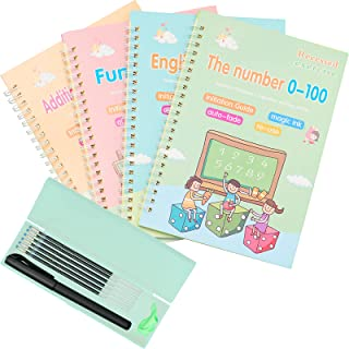 Magic Practice Copybook for Kids, 4 Pcs Handwriting Workbook for kids -Alphabet -Number -Math -Drawing, Reusable Writing P...
