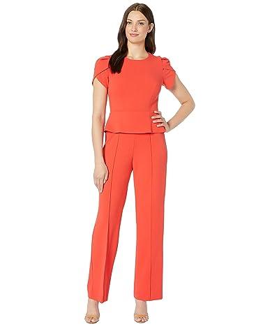 Donna Morgan Short Sleeve Peplum Crepe Jumpsuit (Scarlet Red) Women