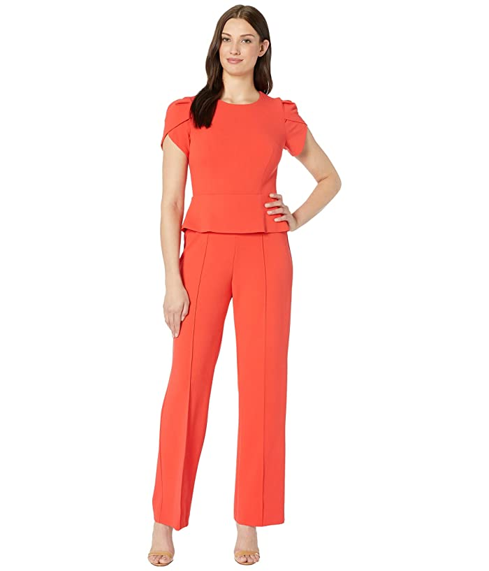 Donna Morgan  Short Sleeve Peplum Crepe Jumpsuit (Scarlet Red) Womens Jumpsuit and Rompers One Piece