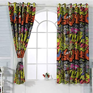 Graffiti Curtains for Sliding Glass Door Contemporary Style Hip Hop Funky Grunge Culture Skull Underground Illustration Room Decor Blackout Shades W96 x L84 Inch Multicolor