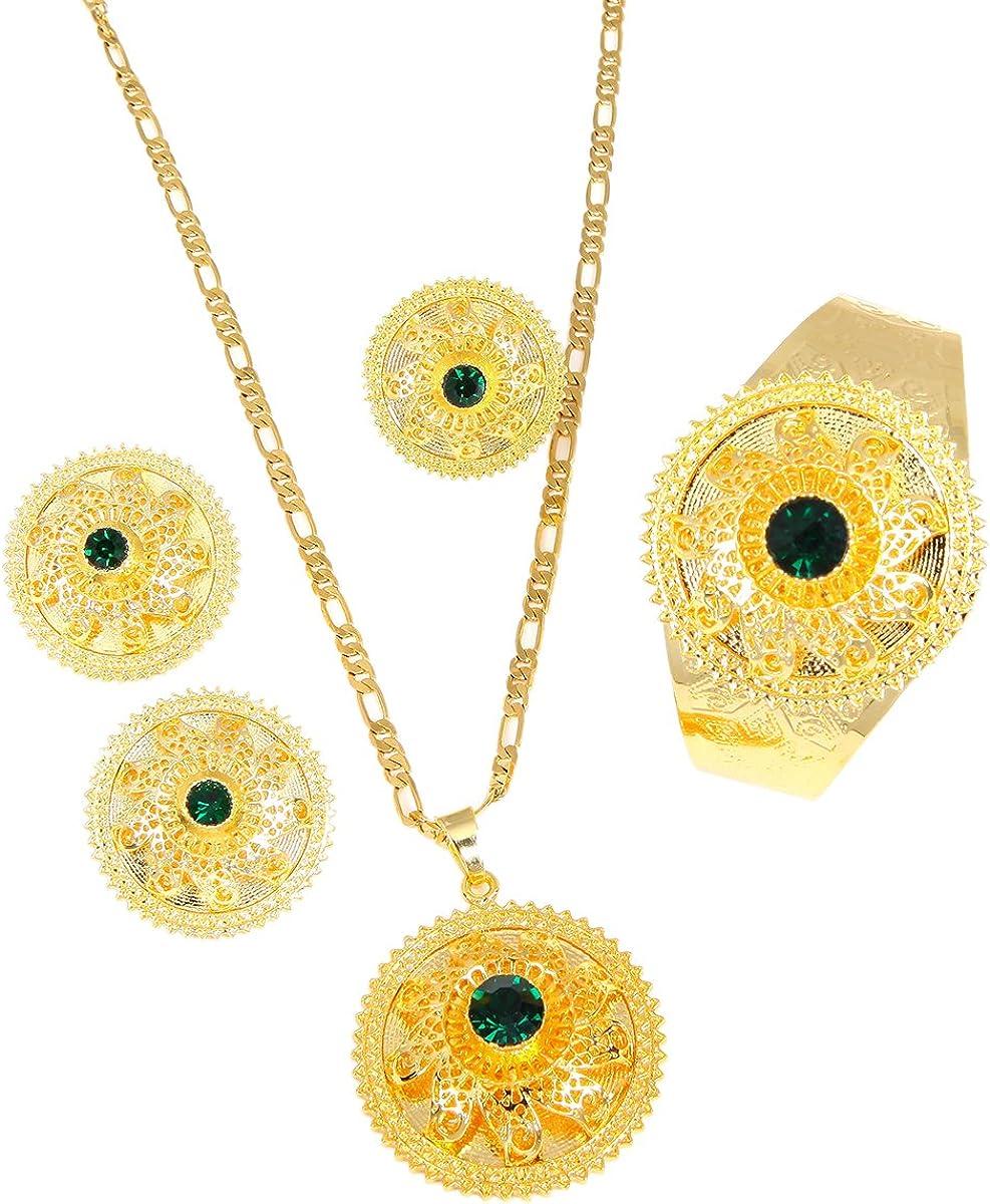 Ethiopian Eritrea Bride Jewelry Sets Pendant Necklaces Earrings Ring Bangle