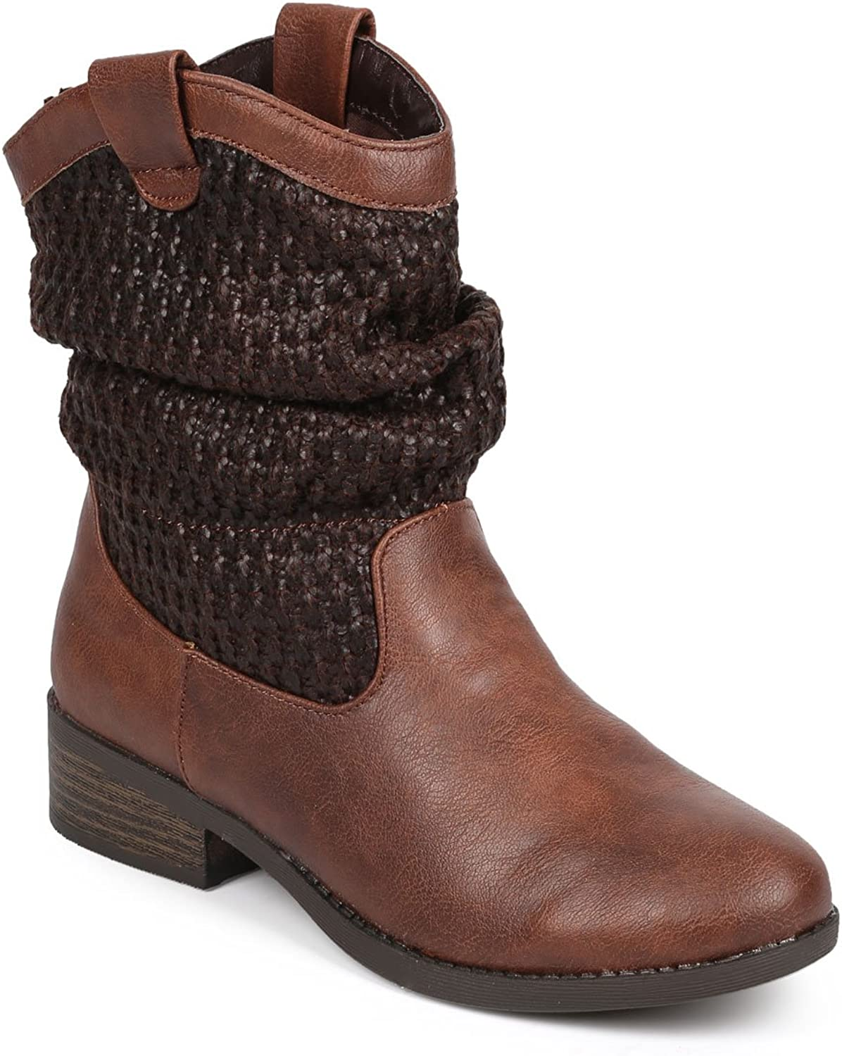 Qupid DB42 Women Distressed Leatherette Raffia Cowboy Slouch Riding Boot - Brown