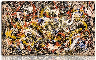 Berkin Arts Jackson Pollock Stretched Giclee Print On Canvas-Famous Paintings Fine Art Poster Reproduction Wall Decor-Ready to Hang Fine Art Wall Decor(Convergence)#NK