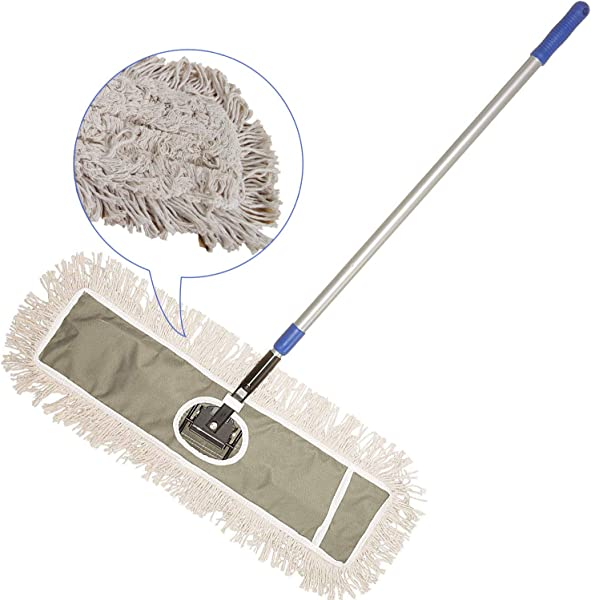 JINCLEAN 24 Industrial Class Cotton Floor Mop Dry To Attract Dirt Dust Or Hardwood Floor Clean Office Garage Care Telescopic Pole Height Max 59 24 X 11 Cleaning Path Industrial Mop