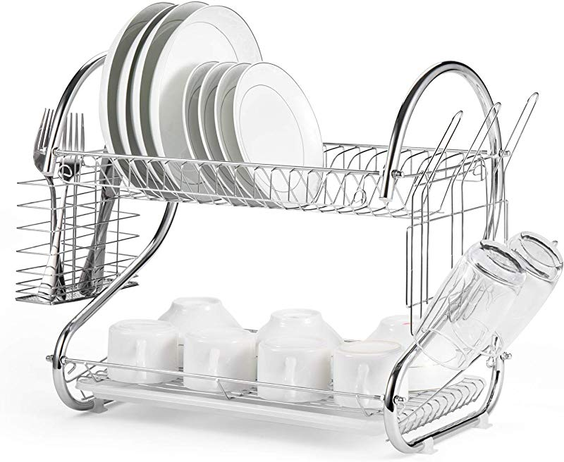 Glotoch Dish Drying Rack 2 Tier Dish Rack With Utensil Holder Cup Holder And Dish Drainer For Kitchen Counter Top Plated Chrome Dish Dryer Silver 16 5 X 10 X 15 Inch
