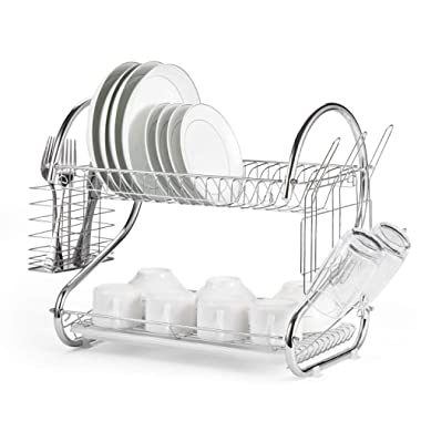 Glotoch Dish Drying Rack, 2 Tier Dish Rack with Utensil Holder, Cup Holder and Dish Drainer for Kitchen Counter Top, Plated Chrome Dish Dryer Silver 16.5 x 10 x 15 inch