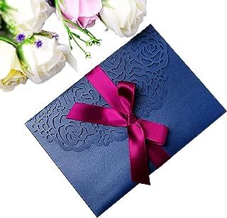 PONATIA 20 PCS 3 Folds 5x7'' Wedding Invitations Cards with Envelopes Ribbons for Wedding Bridal Shower Engagement Birthday Graduation Invite (Navy Blue)