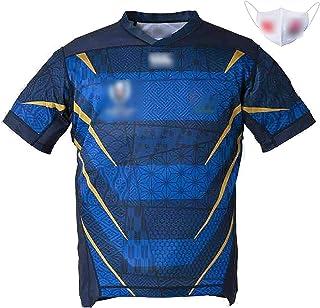 男子ラグビーウェア2019ラグビーワールドカップの純綿ジャージ、マスクはラグビーウェア、出荷は迅速です M 蓝色