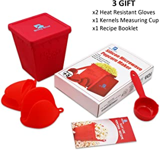 Microwave Popcorn Popper, Hot Air Silicon Popcorn Maker, Healthy No Oils Needed, BPA, PVC Free, Including 3 gifts: Measuring Cup, Heat Resistant Glove, Recipe Booklet. By BlingBlue.