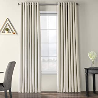 Half Price Drapes Extra Wide Grommet Blackout Velvet Curtain, Off White, 100 x 108